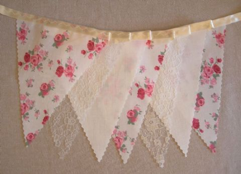 BUNTING - Cream, Lace and Red & Pink Floral 'Vintage Roses' on a Cream Ribbon - 3m/10ft or 5m/16ft